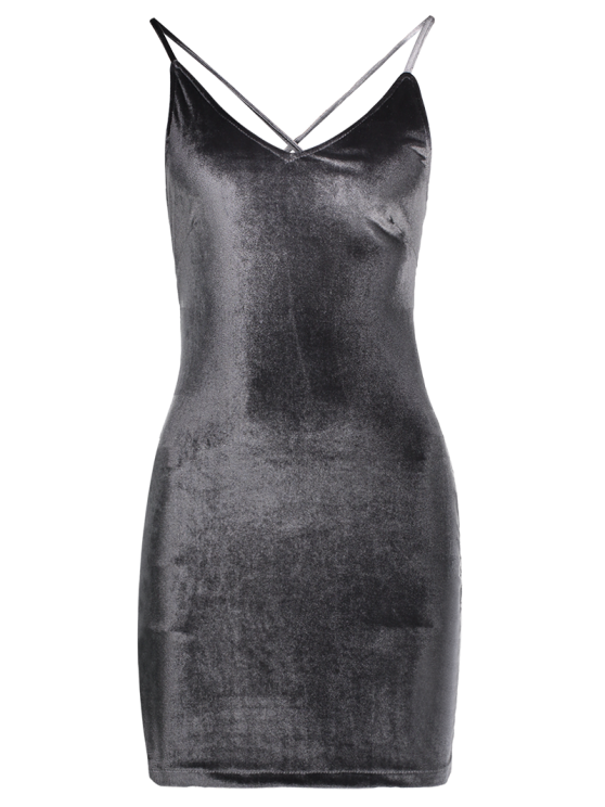 Velvet Cross Back Bodycon Mini Dress - GRAY S Mobile