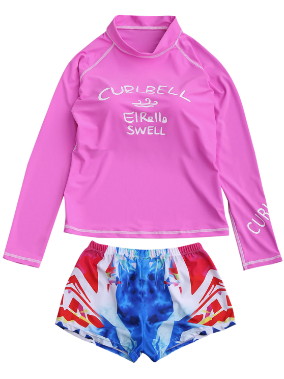 Letter Top and Printed Shorts Wetsuit - PINK XL Mobile