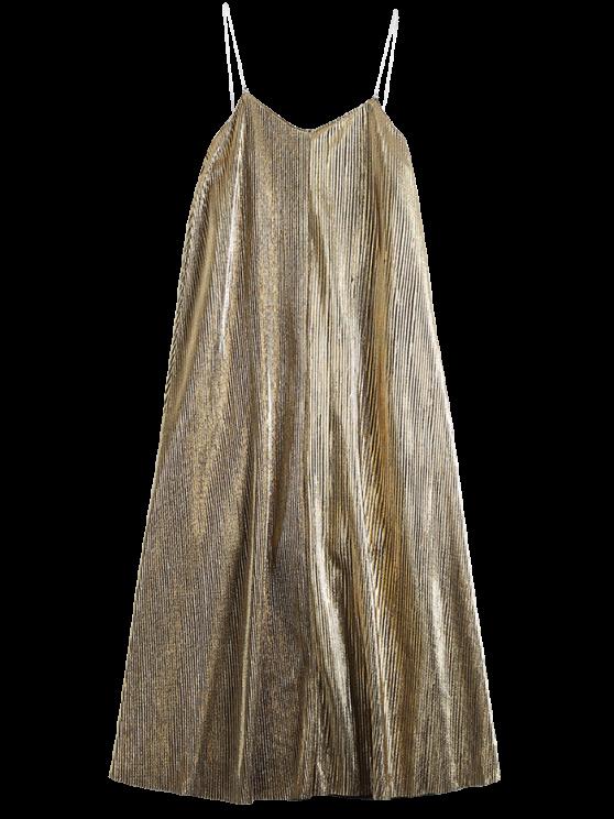 fashion Vintage Glittered Midi Dress - GOLDEN M
