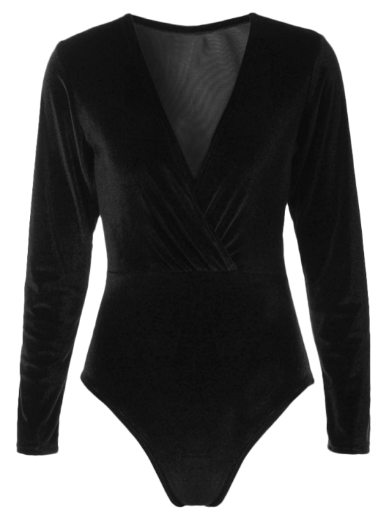 trendy Long Sleeve Velvet Bodysuit - BLACK XL