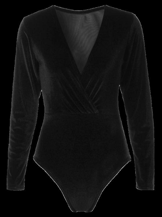 fashion Long Sleeve Velvet Bodysuit - BLACK L