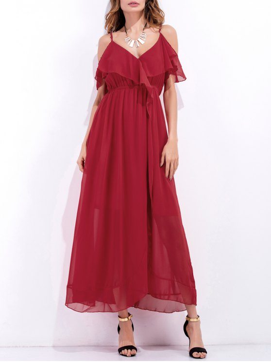 High Slit Ruffle Slip Chiffon Dress - RED M Mobile