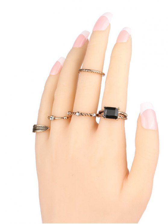 Engraved Faux Gem Rhinestone Ring Set - GOLDEN  Mobile