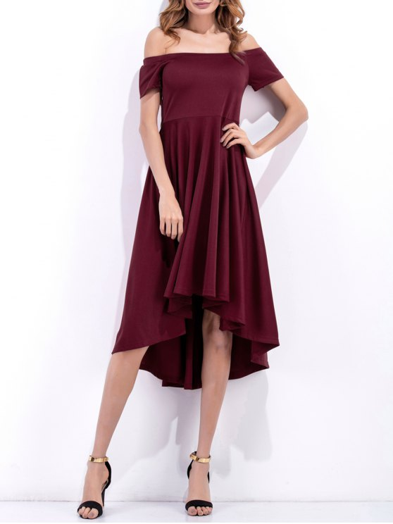 unique Off Shoulder High Low Flowing Dress - WINE RED XL
