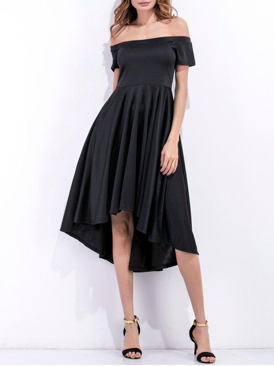 affordable Off Shoulder High Low Flowing Dress - BLACK M