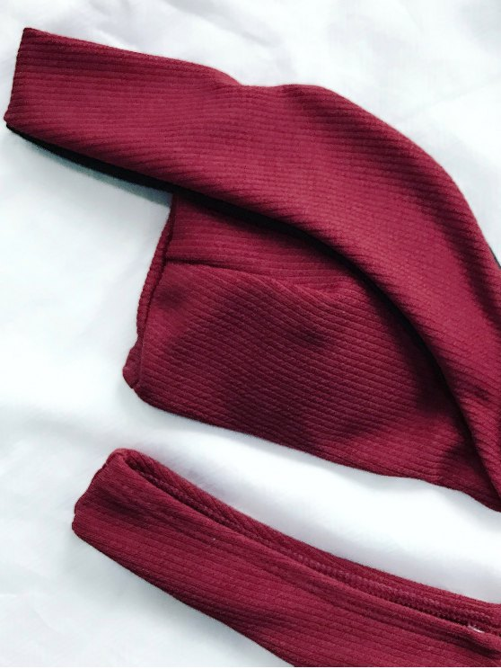 V Plunge Off The Shoulder Bikini Swimwear - BURGUNDY M Mobile