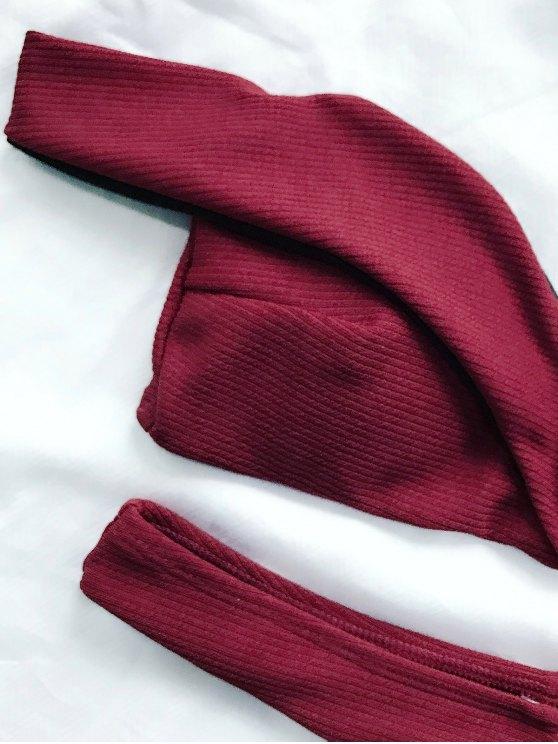 V Plunge Off The Shoulder Bikini Swimwear - BURGUNDY L Mobile