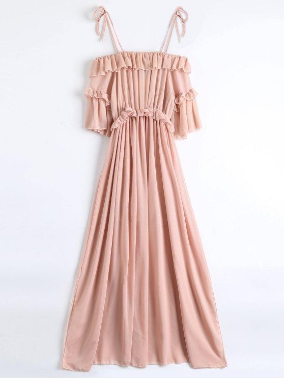 Chiffon Ruffles Beach Dress - PINK S Mobile
