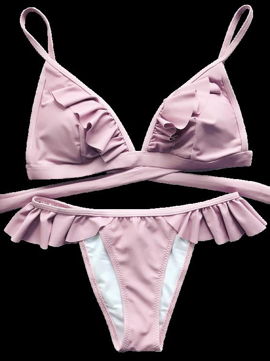 Cami Frilly High Leg Bikini - PINK S Mobile