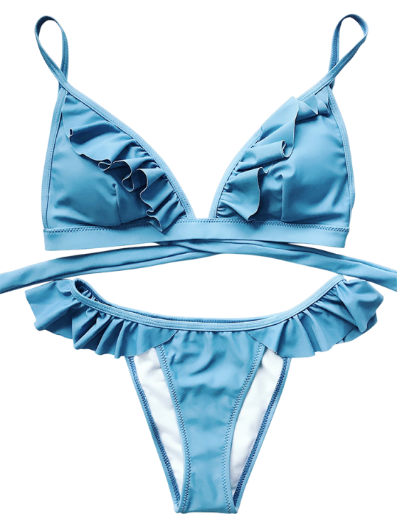 Cami Frilly High Leg Bikini - BLUE L Mobile
