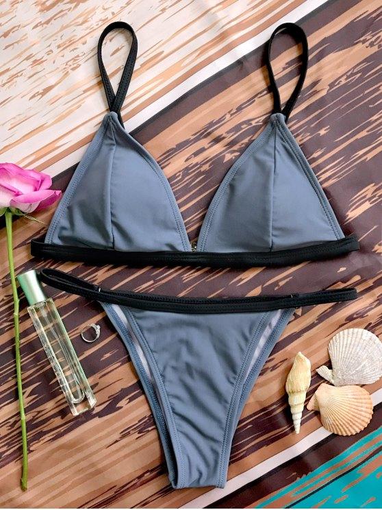 Escotado con relleno Cadena Bikini V - Gris M