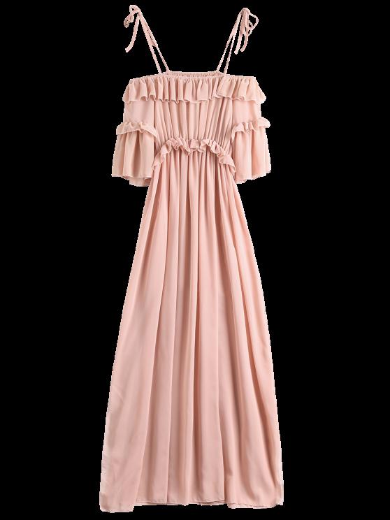 fancy Chiffon Ruffles Beach Dress - PINK S