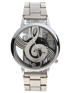 Music Note Dial Stainless Steel Watch - Silver