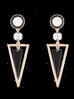 Rhinestone Triangle Circle Earrings - Golden