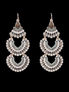 Faux Gem Multilayered Rhinestoned Earrings - Golden