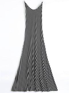 Backless Striped Maxi Cami Dress - Black Xl