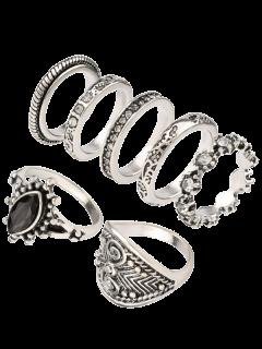Rhinestone Engraved Vintage Ring Set - Silver One-size