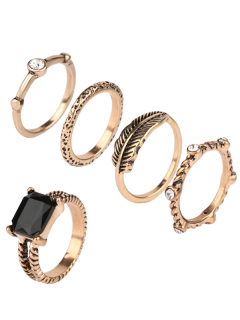 Engraved Faux Gem Rhinestone Ring Set - Golden