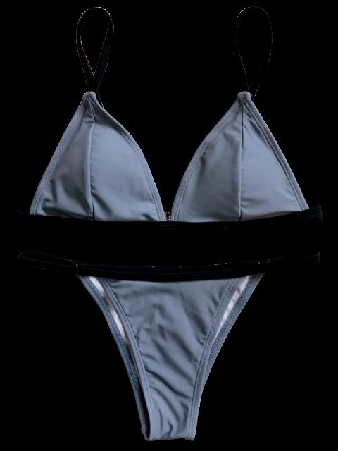 online Padded Plunge V String Bikini - GRAY S Mobile