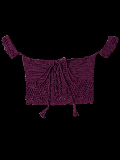 shop Knitted Off The Shoulder Bikini Bra - BURGUNDY ONE SIZE Mobile
