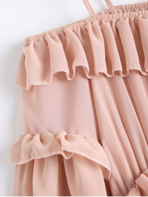 fancy Chiffon Ruffles Beach Dress - PINK S Mobile