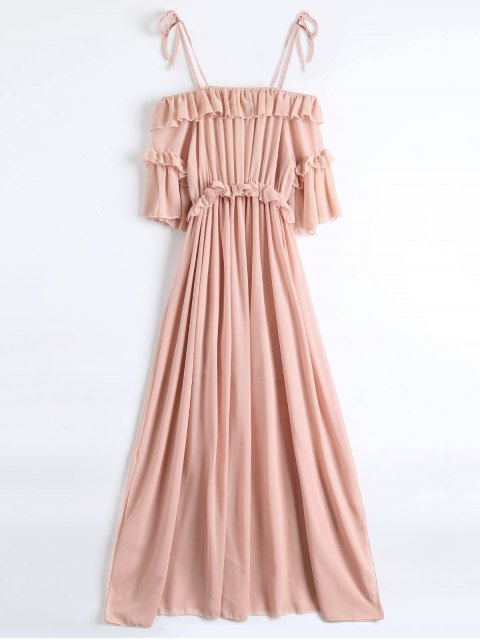 unique Chiffon Ruffles Beach Dress - PINK M Mobile