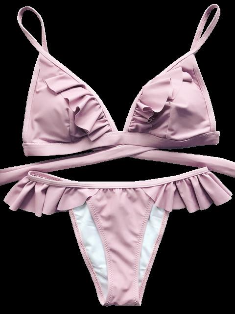 new Cami Frilly High Leg Bikini - PINK S Mobile