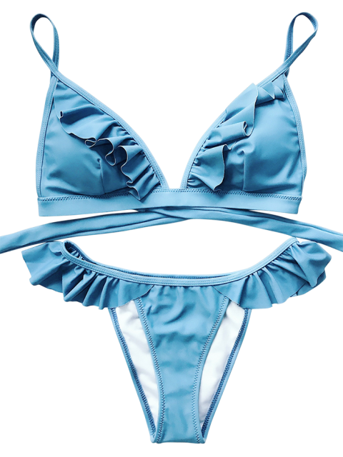 outfits Cami Frilly High Leg Bikini - BLUE S Mobile