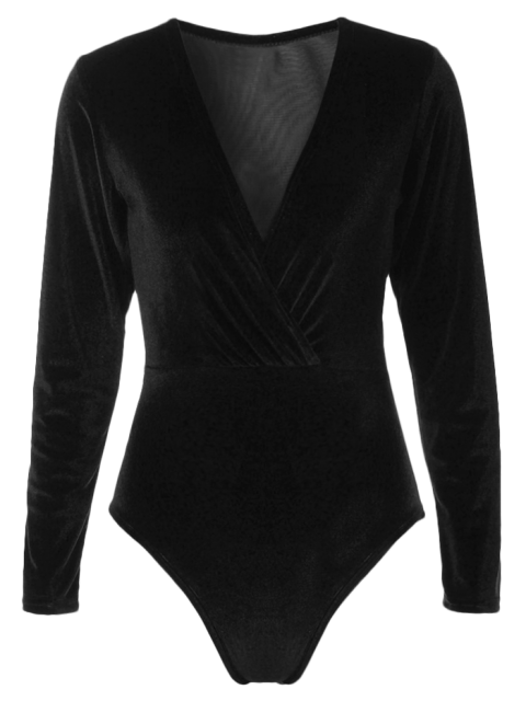 trendy Long Sleeve Velvet Bodysuit - BLACK XL Mobile