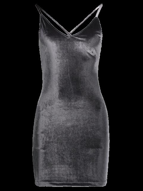 outfit Velvet Cross Back Bodycon Mini Dress - GRAY S Mobile