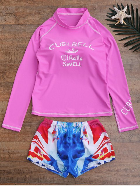 shop Letter Top and Printed Shorts Wetsuit - PINK XL Mobile