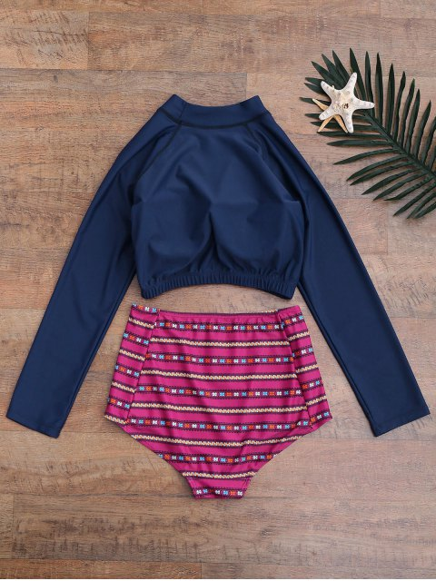 outfits Printed High Waisted Letter Wetsuit - PURPLISH BLUE M Mobile