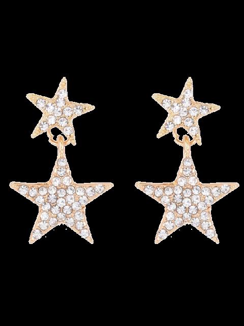 womens Pentagram Rhinestoned Earrings - GOLDEN  Mobile