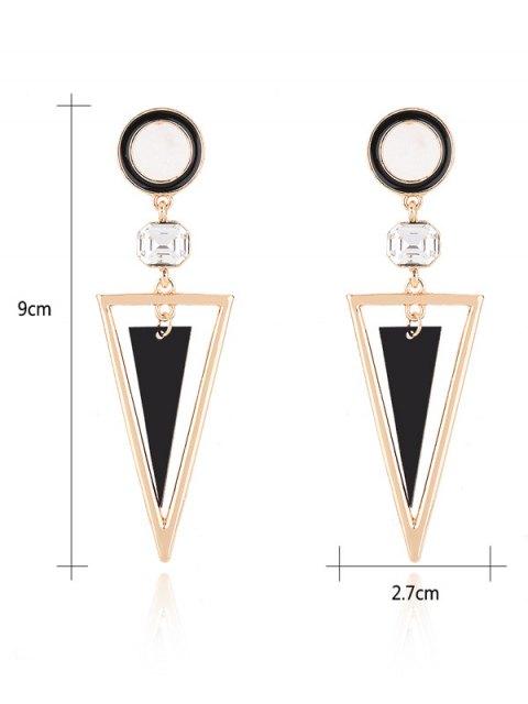 Boucles d'oreilles circulaires à pendants triangulaires de strass - Or  Mobile