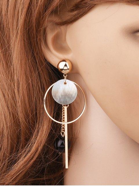Boucles d'oreilles circulaires agrémentées de boules et de barres - Or  Mobile