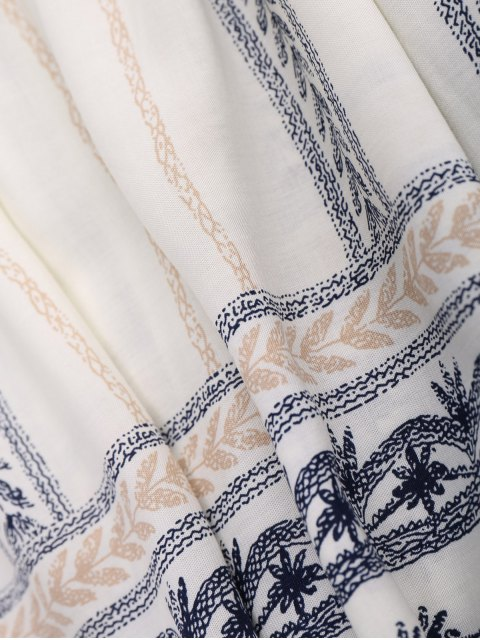 trendy Stripe Print Mini Smock Dress - OFF-WHITE M Mobile