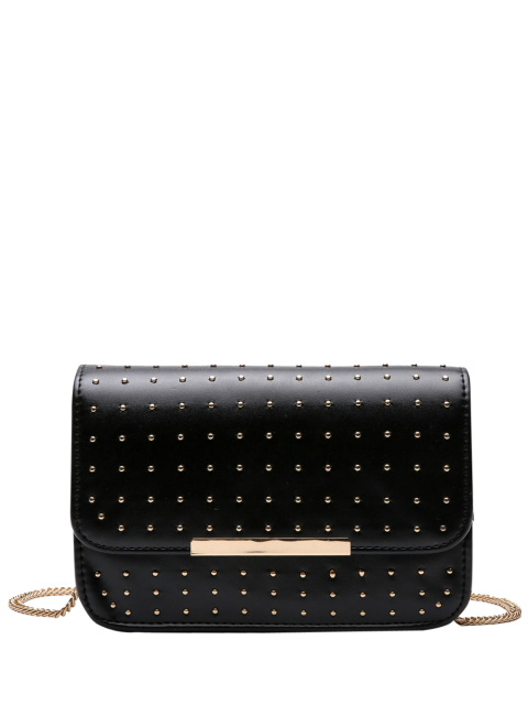 hot Rivet Chains Flap Cross Body Bag - BLACK  Mobile