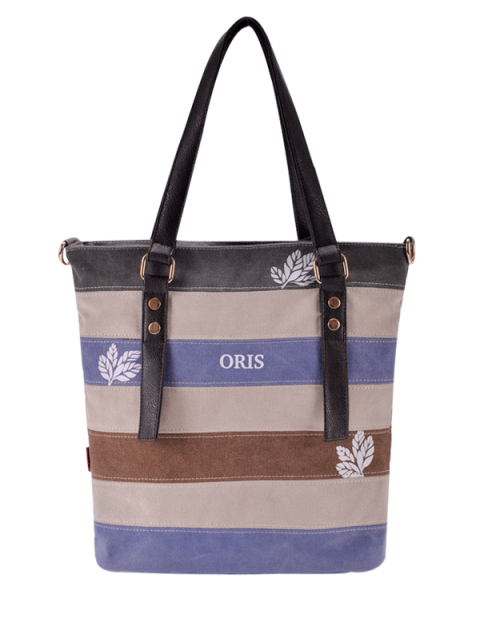lady Color Block Canvas Shoulder Bag - GRAY  Mobile