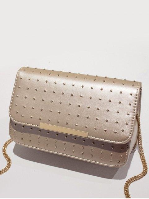 online Rivet Chains Flap Cross Body Bag - GOLDEN  Mobile