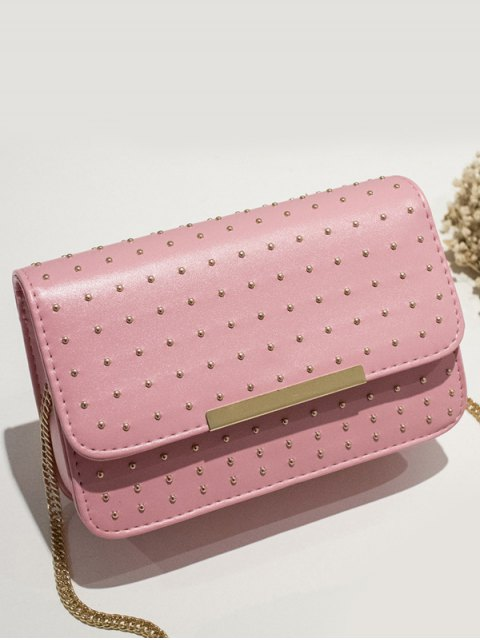 outfit Rivet Chains Flap Cross Body Bag - PINK  Mobile