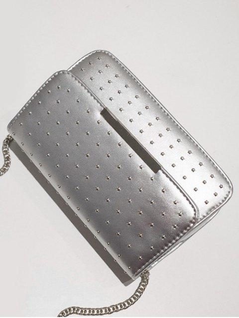 new Rivet Chains Flap Cross Body Bag - SILVER  Mobile