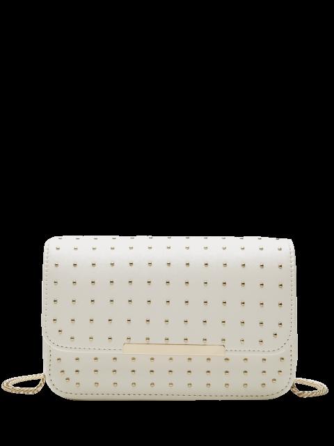 best Rivet Chains Flap Cross Body Bag - WHITE  Mobile