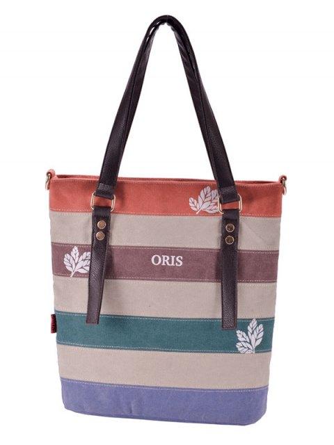 best Color Block Canvas Shoulder Bag - RED  Mobile