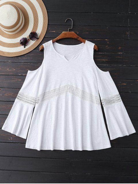 fashion Lace Insert Cold Shoulder Top - WHITE S Mobile