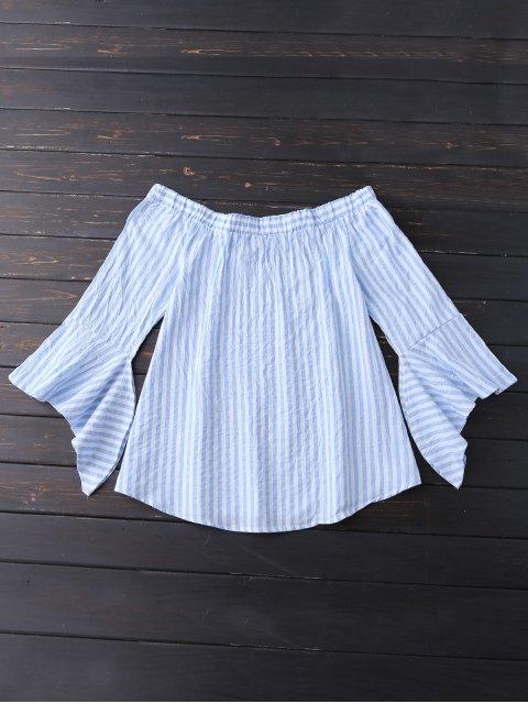 fancy Bell Sleeve Off Shoulder Striped Blouse - SKY BLUE M Mobile