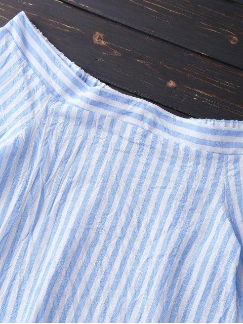 Blouse à rayures avec encolure dégagée et manches cloches - Azur XL Mobile