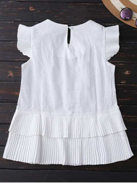 shops Layered Pleated Panel Blouse - WHITE M Mobile