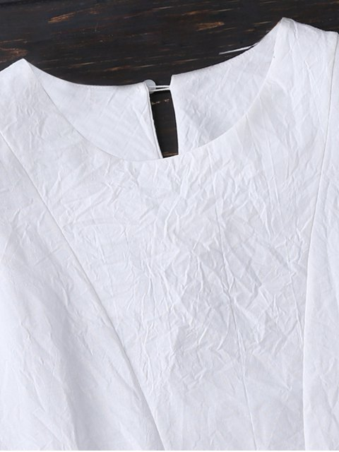 shop Layered Pleated Panel Blouse - WHITE S Mobile