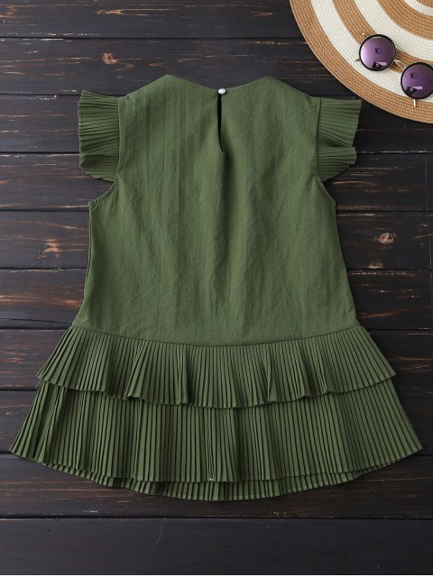 fancy Layered Pleated Panel Blouse - ARMY GREEN L Mobile