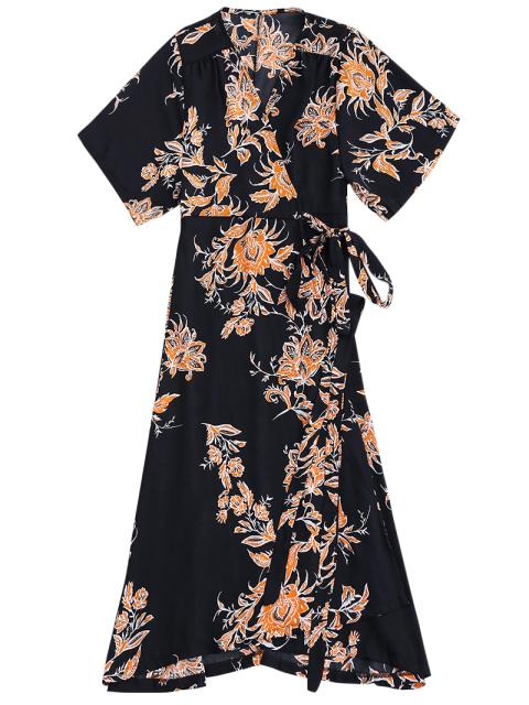 affordable Floral Chiffon Wrap Beach Dress - BLACK S Mobile